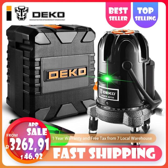 DEKO DKLL501 5 линий 6 очков лазерный уровень зеленые лазерные линии многоцелевой кросс-лайн открытый режим наклона может использоваться с детектором