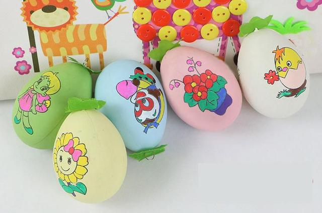 6 pcs multi pattern children drawing easter eggs with 4 colors pigment kids baby colored - Children Drawing Images