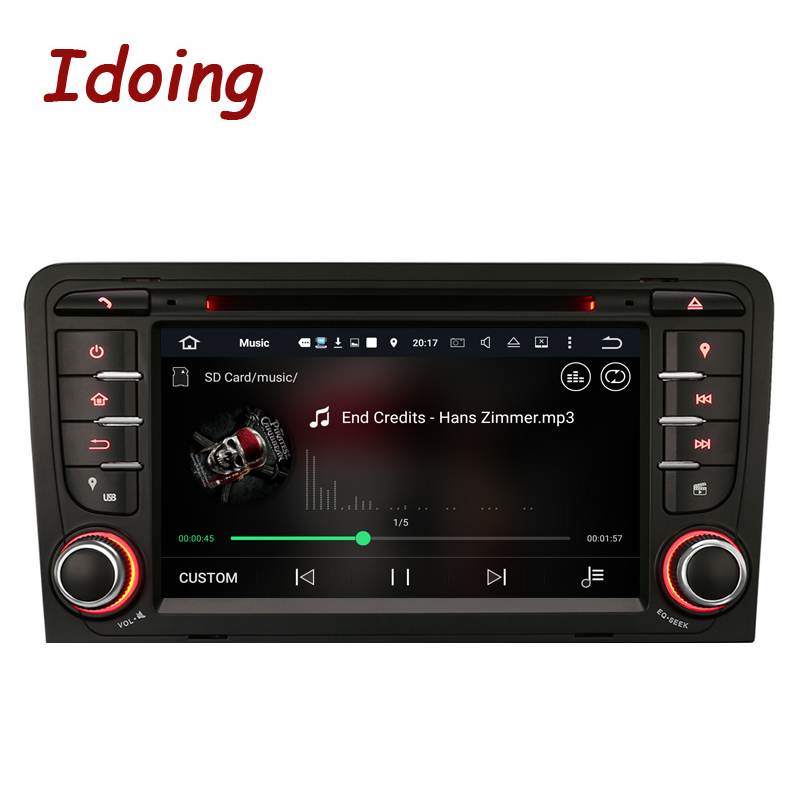 Idoing Android7.1/2G RAM/16G ROM/4Core/2Din For Audi A3 Car DVD Player Multimedia Video Head Device Stereo WiFi 3G TV Fast Boot