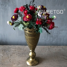 Vintage Gold Color Flower Vases Home Decoration Room Floor Jardiniere Vase Wedding Movie Photo Props Decoration