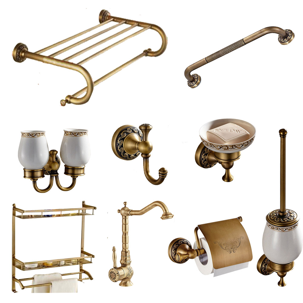 Brass Collection Carved Paper Holder Bathroom Accessories  Antique  Bathroom Products Wall Mounted Brass Bathroom Hardware Set