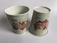 10 Pz/lotto D11xH12.5CM Vaso di Ferro vaso di Fiori Fioriera Decorazione di Cerimonia Nuziale Europa di latta vasca 1958 Fiori