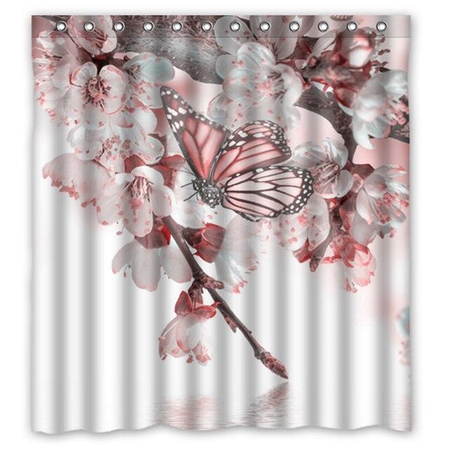 Pink Butterfly Peach Flower Custom Design Bath Bathroom Curtains Waterproof Shower Curtain Size 48x7260x72