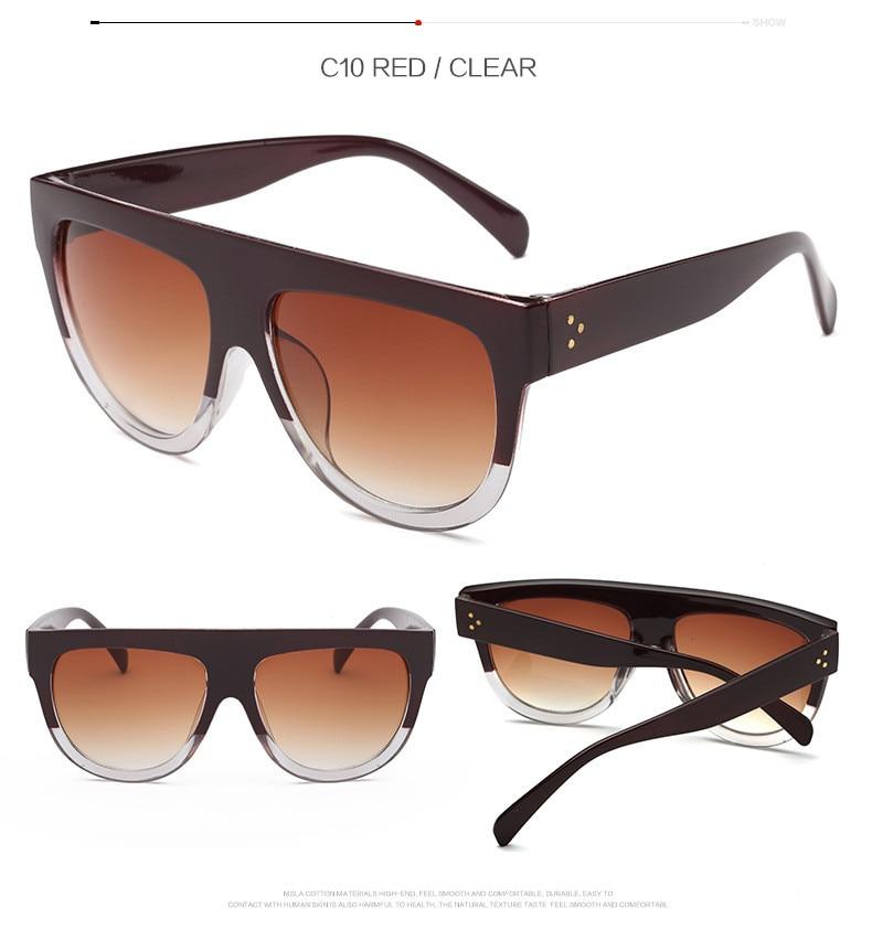 Oversize Retro Flat Top Cat Eye Glasses 12