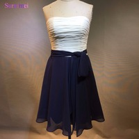 Free Shipping Vestidos De Casamento Champagne White And Navy Blue Short Bridesmaid Dress 2017 Vintage Wedding