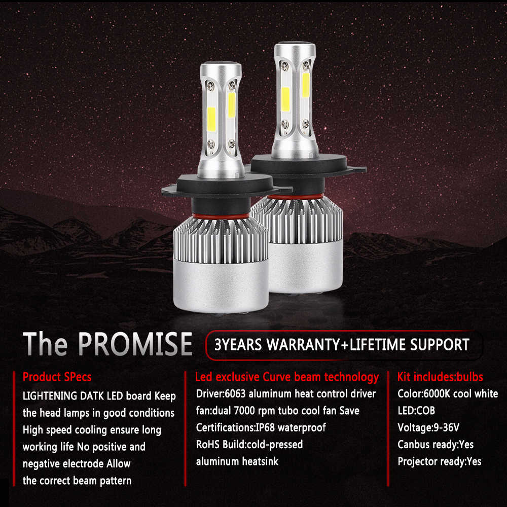 72W 4300K 6500K 12000LM Turbo H1 H8 H4 Led bulb 12V S2 Car Headlight H3 H7 H11 9007 8000K Bulbs H16 Super Bright COB lamp Light