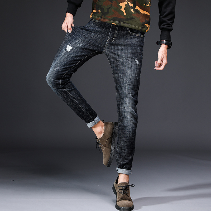 Male Personality Casual Jeans Spring 2018 Fashion Ripped Broken Hole Slim Fit Stretch Bleached Pencil Pants Jeans For Youth Men
