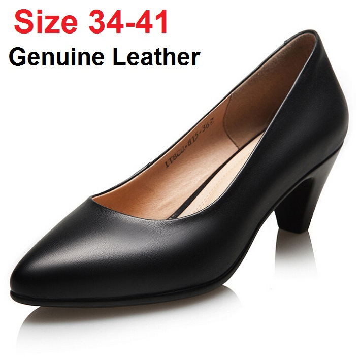 ФОТО OL genuine leather shoes woman work shoes thick heel black pointed toe shoes women small size pumps high heeled big size shoes