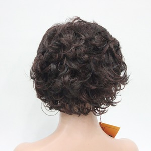 Image 5 - StrongBeauty Womens Short wig Dark brown/silver Natural Curly Hair Synthetic Full Wigs