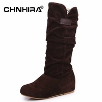 CHNHIRA Classic Women Pleated Flock Snow Boots Lace Winter Shoes Boot Feminina Botas Women Snow Boots