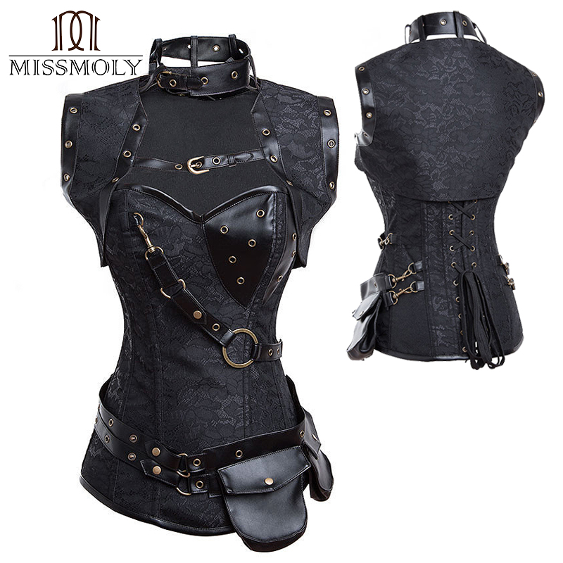 Miss Moly Women's Gothic   Corset   Steampunk Black   Bustier   Fancy Lingerie   Bustier   Boned Top Costume Faux Leather Dress Body Shaper