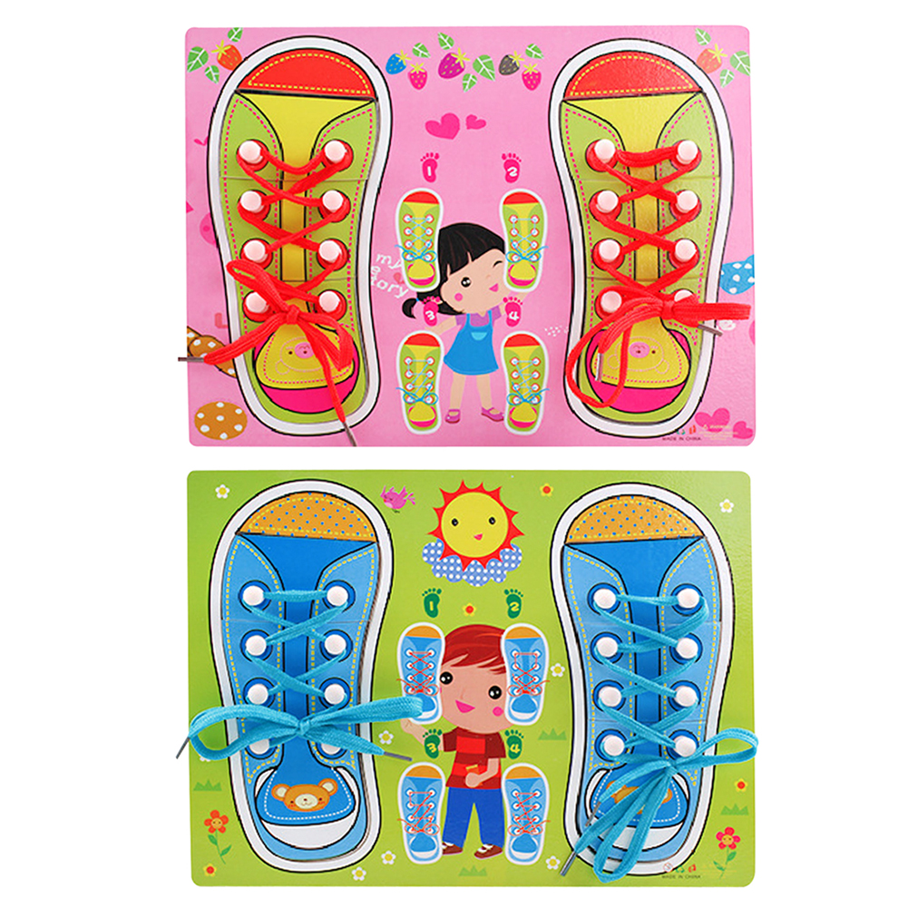 Baby learning toys teaching aids wooden puzzles board lacing shoelace