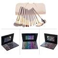 Fashion 12pcs Powder Eyeliner Blusher Makeup Brush with White Bag + 88 Colors Shimmer Matte Eyeshadow Palette Cosmetic Set Kits