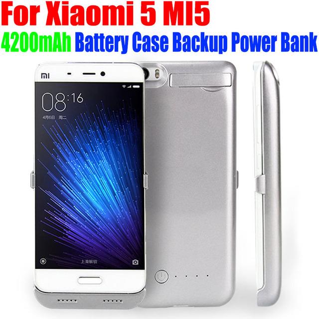 20 pçs/lote fedex livre 4200 mah power bank carregador de bateria de backup caso capa para o xiaomi 5 mi5 m506