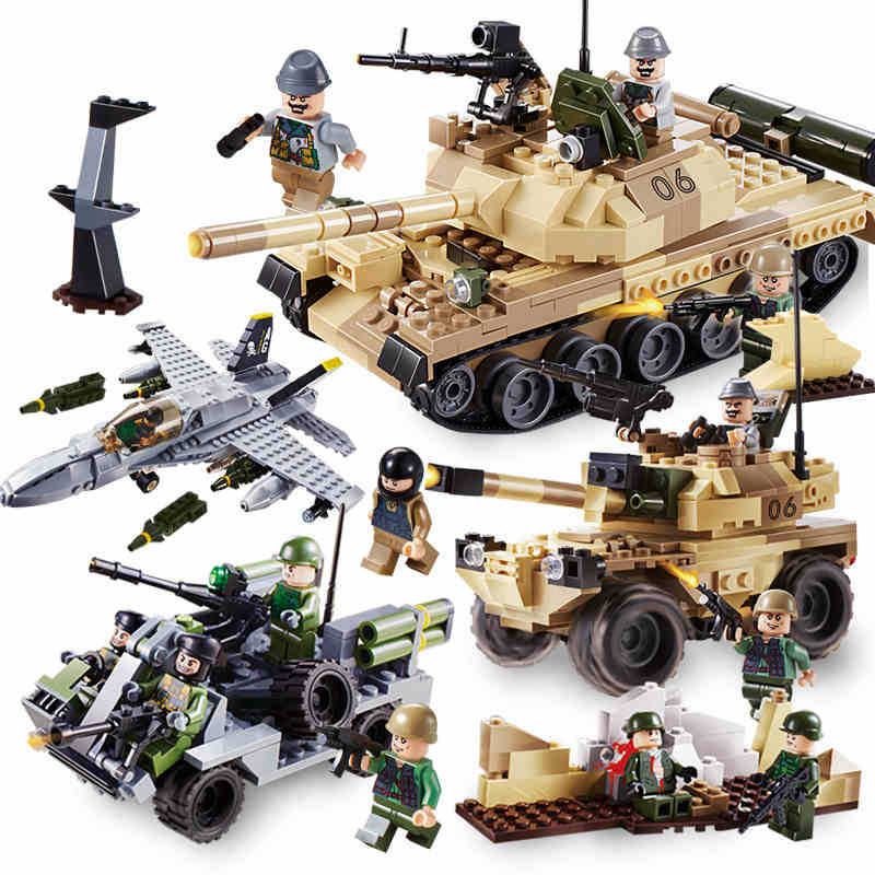 600019A 372pcs Military Constructor Model Kit Blocks Compatible LEGO Bricks Toys For Boys Girls Children Modeling