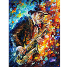 Hand Painted Landscape Abstract Saxophone Palette Knife Modern Oil Painting Canvas Art Living Room hallway Artwork Fine Art