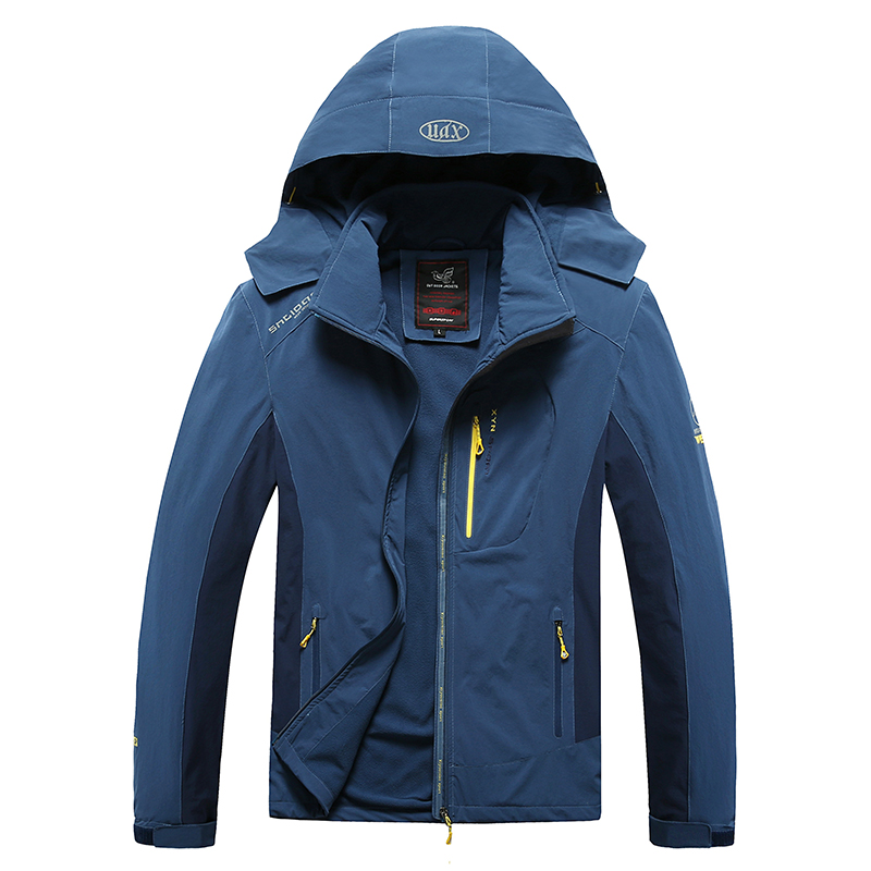 7XL 8XL Outdoors Windbreaker Men Hiking Jackets Loose Hooded Warm Sport Coat 2019 New Elasticity Fabric Trekking Camping Jacket kangfeng серый цвет 7xl