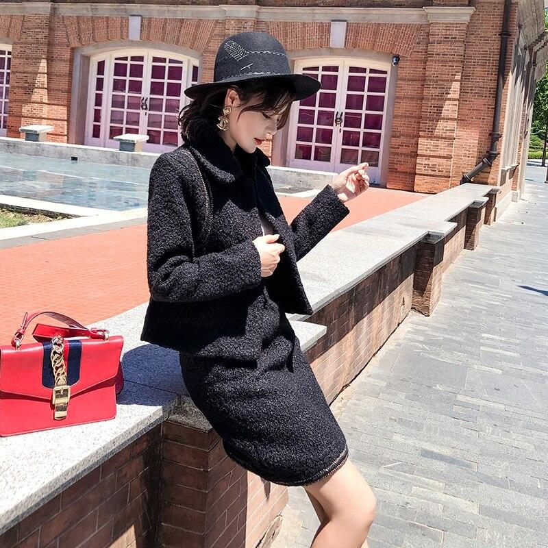 Patchwork Tweed Femmes amp; Veste De Crayon Ensemble D'hiver Jupe Chaud Pièces Deux Costumes 2018 Noir Manteau Épais Date Laine Moulante 05xZfw