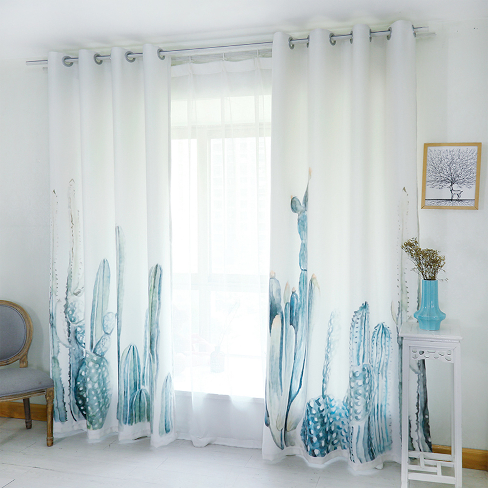 Dressing 200 Cm Us 45 Personal Tailor 2x Grommet Window Drapery Window Curtain Living Room Window Dressing Tulle 200cm X 260cm Cactus White In Curtains From Home