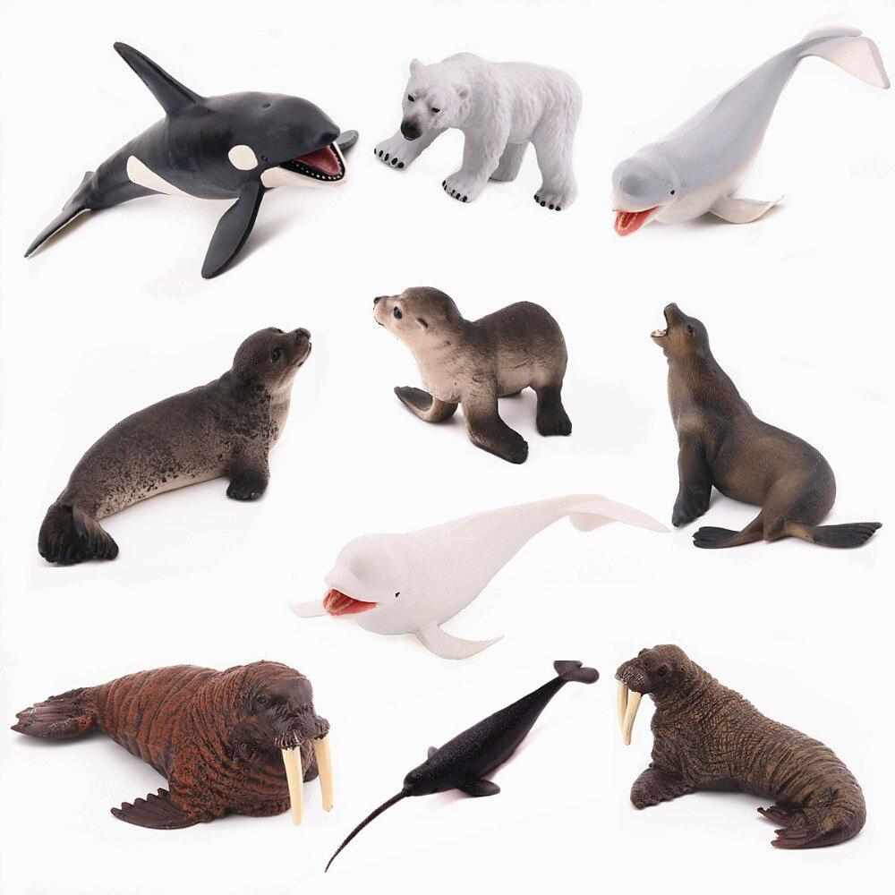 Reikirc 10pcs  Set Arctic Animals Sea Marine Animal Figures