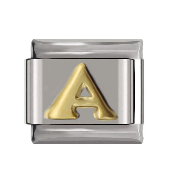 Hapiship Original Daisy Gold 26 Letters A-Z Italian Charm Fit Bracelet Stainless Steel Jewelry Making 1