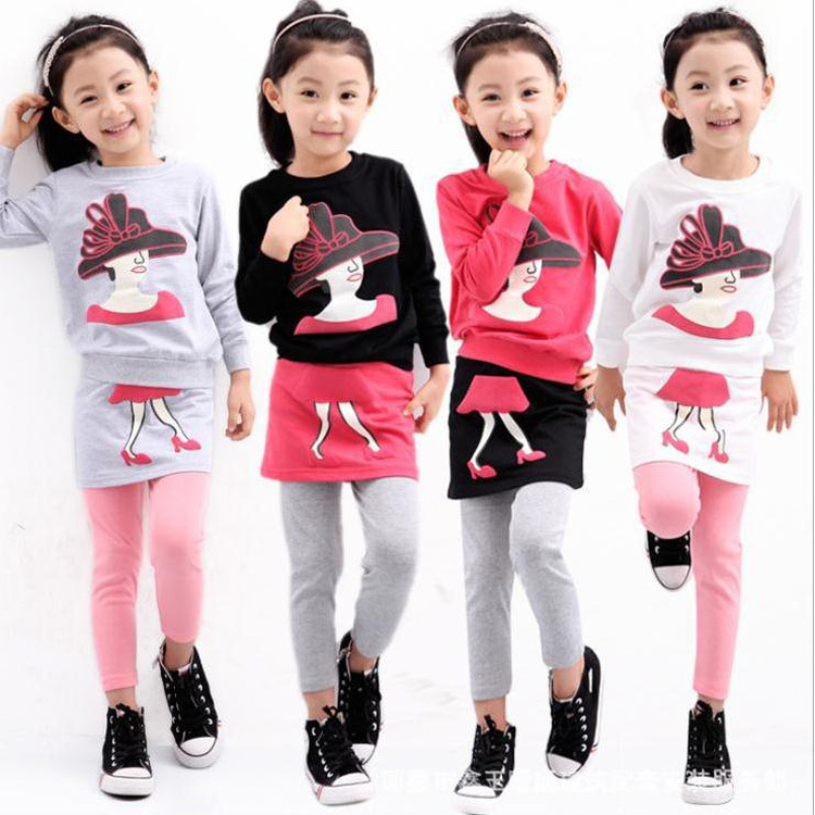 Anlencool New Fashion spring 2018 Korean children and virgin girl cartoon Printed Dress Suit for children Baby girl clothing set imc hot 10 pcs rj45 8p8c double ports female plug telephone connector