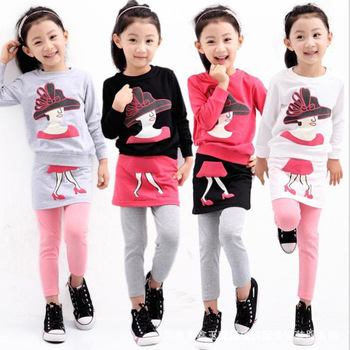 Anlencool New Fashion spring 2020 Korean children and virgin girl cartoon Printed Dress Suit for Baby clothing set