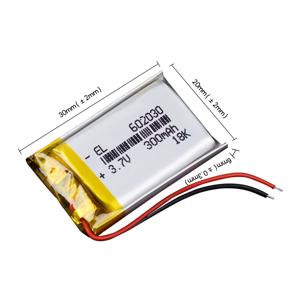 CE ROHS 300mAh <font><b>602030</b></font> 3.7V lithium polymer battery bloody r8 mouse dvr advocam-fd8 profi red image