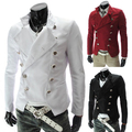 2015 nueva moda trajes de la etapa cantante de ropa de moda cruzado hombres delgados pequeño traje de chaqueta blanca / M-XXL