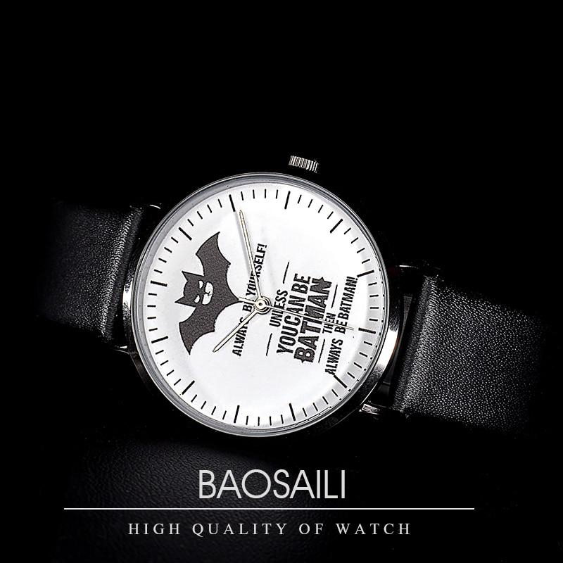 BAOSAILI Top Brand Classic Simple Watch Fashion Couple Watch Stylish Batman Dial Watch Men Luxury Leather Women Watches Clock