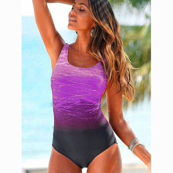 Mujer Mayo Push Up Swimwear Criss Cross Back One-piece Beach Bathing Suit Gradient Print Plavky Sexy One Piece Women Swimsuit 2