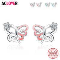 100% pendiente de Plata de Ley 925 de moda lindo rosa/Azul 12mm X 11mm mariposa Stud pendientes para las mujeres regalo para niñas y niños