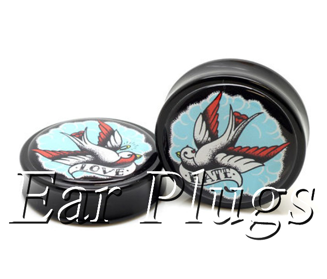 1 pair plugs acrylic piercing Love&Hate swallow saddle ear plug gauges tunnel body piercing jewelry PSP0015