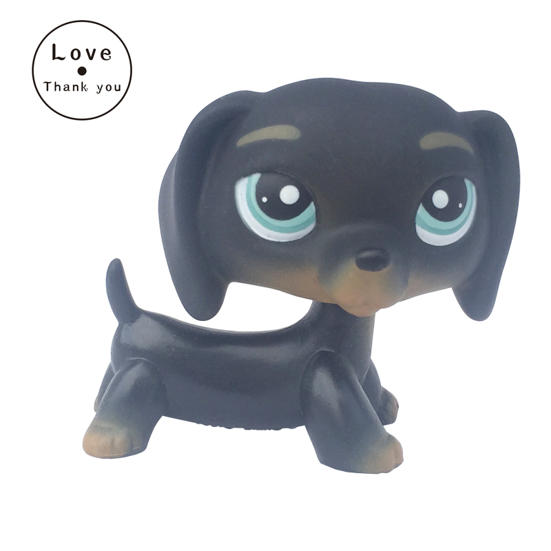 все цены на real rare pet shop toys little dog model dachshund #325 black sausage puppy old real animal figure baby gift онлайн