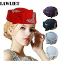 A254 Ladies Rhinestone Teardrop Fancy Wool Fascinator Cocktail Pillbox Cap Hat