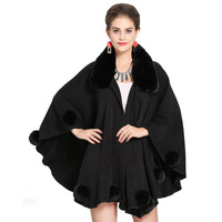 2019 New Fahion Pashmina Wool Knitted Shawls And Wraps With Fur Women Faux Fox Trim Collar Fake Cashmere Poncho Cape Big Size