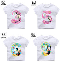 Kid Happy Birthday Number 1~9th Cartoon Mouse Number Print T-shirts Boy and Girl Number Tshirt Baby Summer Top Children Clothes(China)