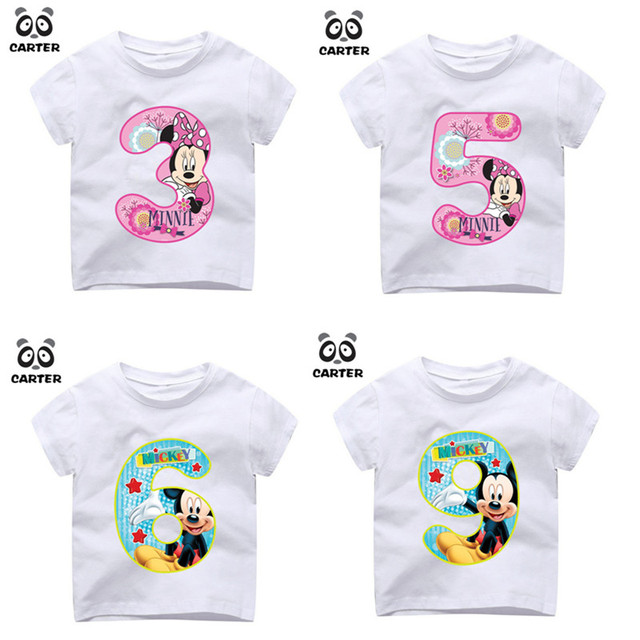 Kid Happy Birthday Number 19th Cartoon Mouse Print T Shirts Boy And Girl Tshirt Baby Summer Top Children Clothes