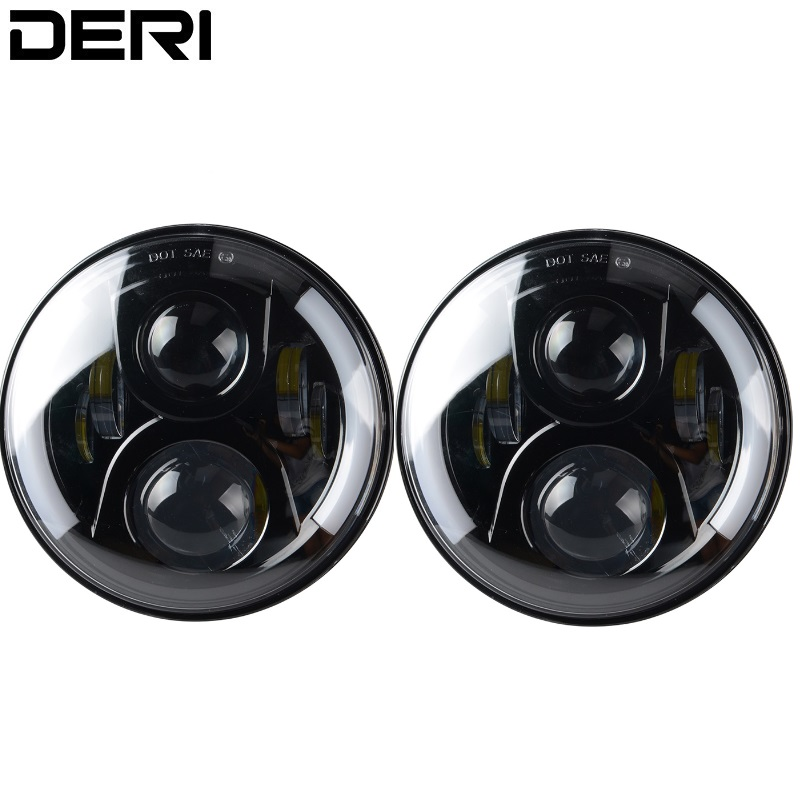 7 Inch 80W Round LED Headlight Kit With CREE LED Chips H4 H13 High Low Beam For Lada Jeep Wrangler JK 2009-2015 Headlamp 12/24V 7 inch round led headlight motorcycle led for jeep wrangler 7 inch 80w headlight round low hi beam headlamp for harley