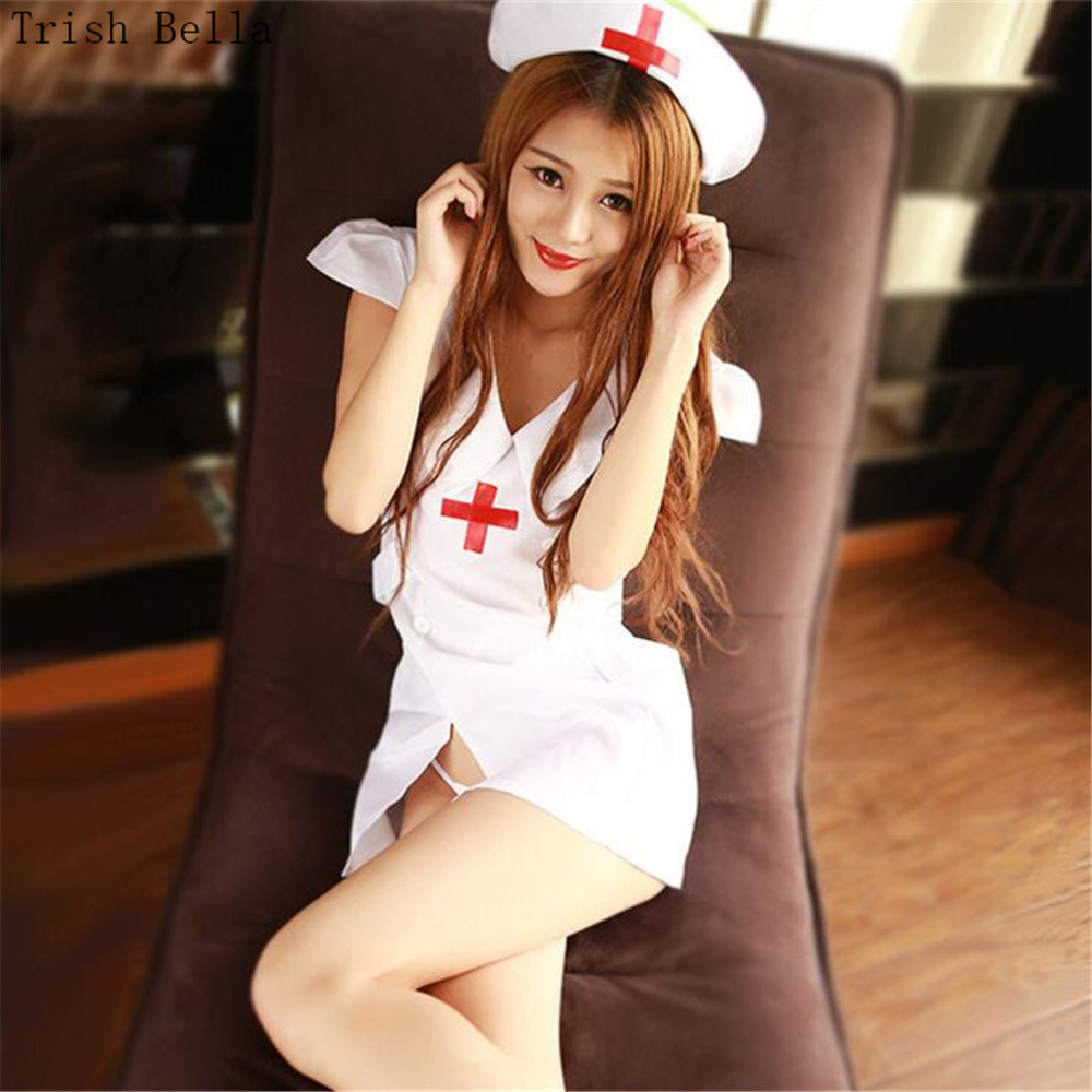 white Lapel Button Forking belt Hollow out Nurse Play suit Pajamas sexy lingerie babydoll sexy underwear lenceria erotic porno
