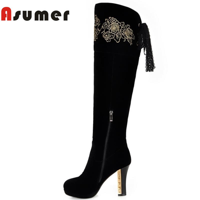 ASUMER Autumn winter high quality keep warm nubuck leather zip over the knee boots elegant platform high heel women boots натурелла прокладки ультра нормал календула 10шт