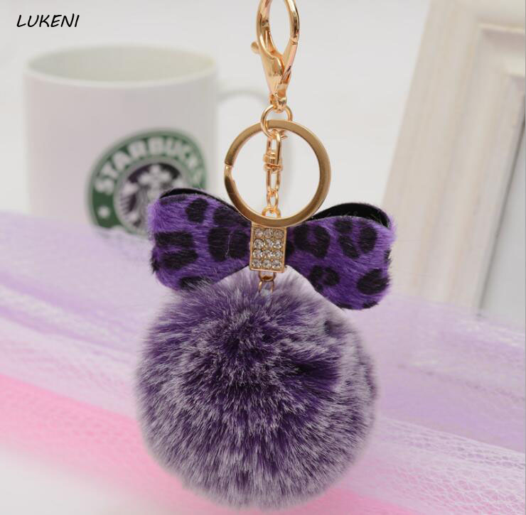 1 Pcs/set Hot Selling Leopard Bowknot Keychain Key Chains Faux Rabbit Fur Hair Bulb Bag Car Ornaments Fur Ball Best Gifts