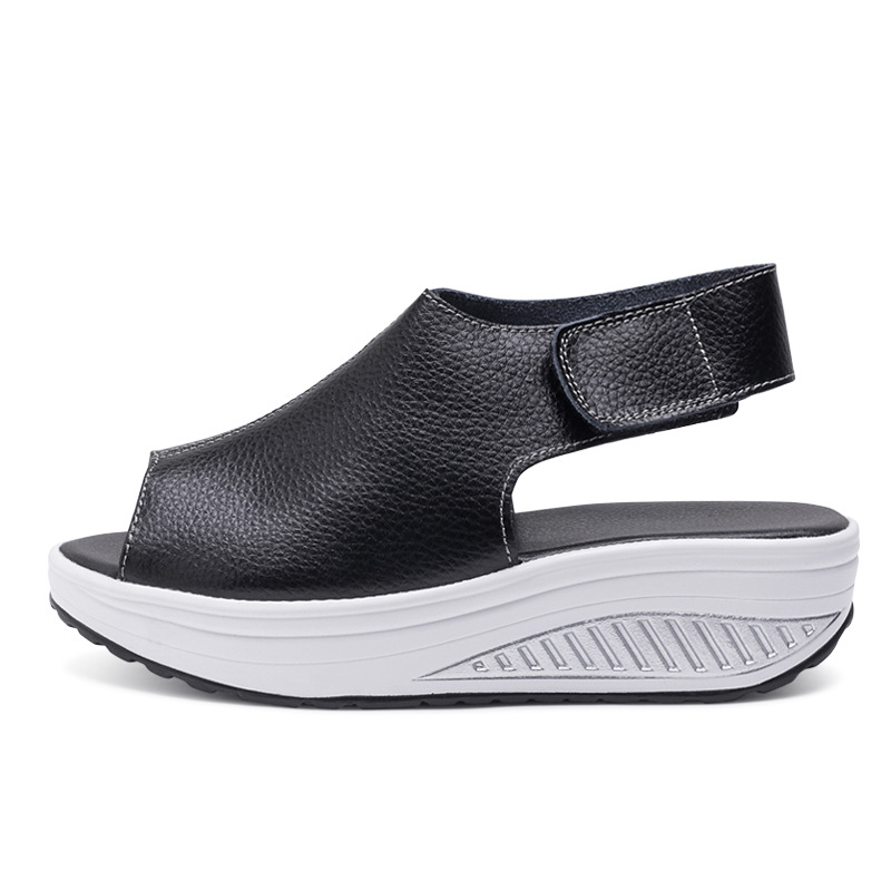 high quality 2018 new rocking shoes thick bottom women sandals leather walking shoes for women sport shoes large size 35-43