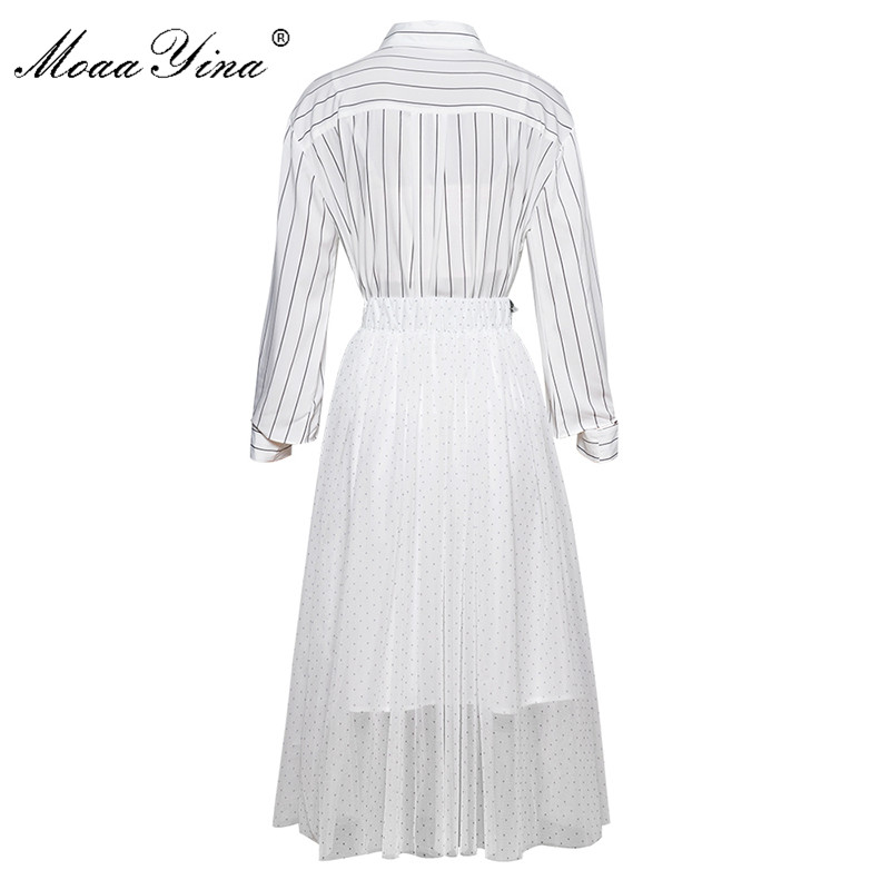 MoaaYina Fashion Designer Set Spring Summer Women Long sleeve Stripe Shirt Tops Mesh Sequin Skirt Two piece suit in Women 39 s Sets from Women 39 s Clothing