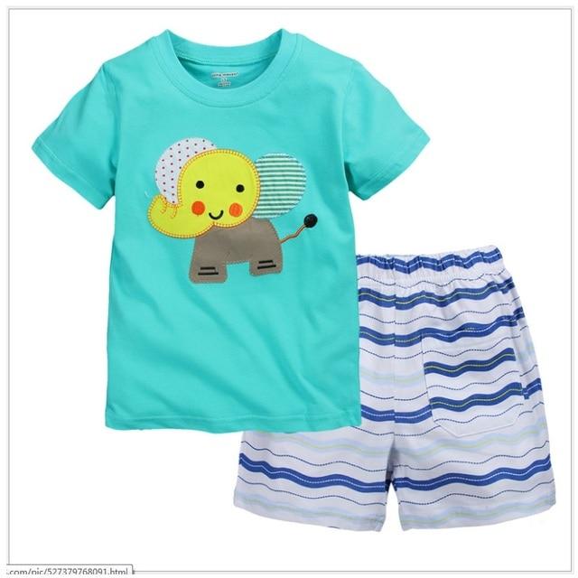 Blue Elephant Детская Одежда Устанавливает Летом С Коротким Рукавом Футболки Полосой Брюки Костюм Мальчиков Одежда Топы Мода Наряды