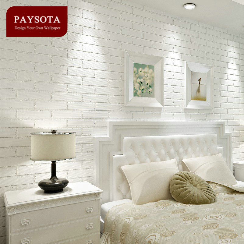 Paysota Non Woven White Brick Grain Wallpaper Bedroom Living Room Tv Setting Sofa Background Wall Paper Home Decoration In Wallpapers From Improvement