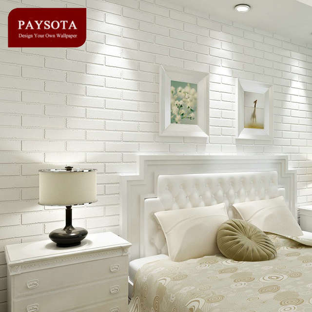 US $29.04 12% OFF|PAYSOTA Non woven White Brick Grain Wallpaper Bedroom  Living Room TV Setting Sofa Background Wall Paper Home Decoration-in ...
