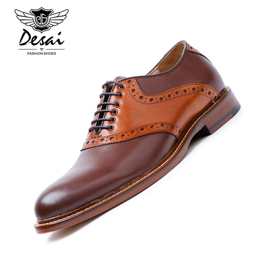 DESAI Brand Top Quality Oxford Shoes For Men Genuine Leather Shoes Mixed Color England Style Handmade Shoes Men Size 38-43 zxq brand handmade new winter men oxford shoes solid color high quality retro british style men flats leather shoes