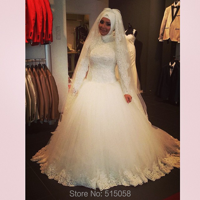 Vintage Lace Long Sleeves Muslim Wedding Dresses 2017 Bride Ball ...