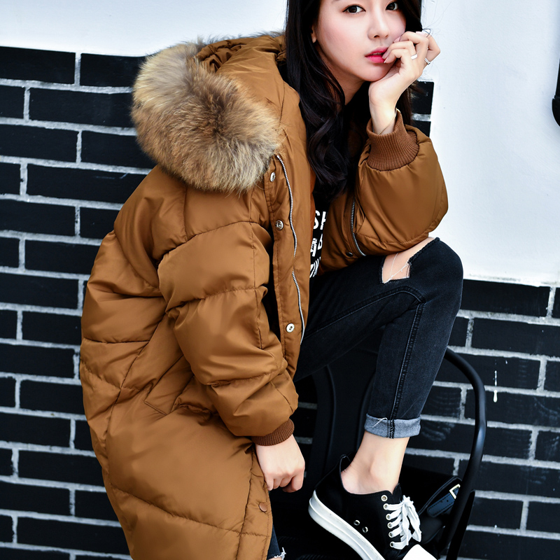 2017 new hot winter Thicken Keep warm woman Down jacket Coat Parkas Hooded Raccoon Fur collar long Straight Loose fashion High
